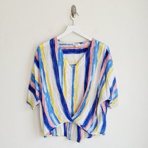 Umgee Striped Knotted Dolman Top